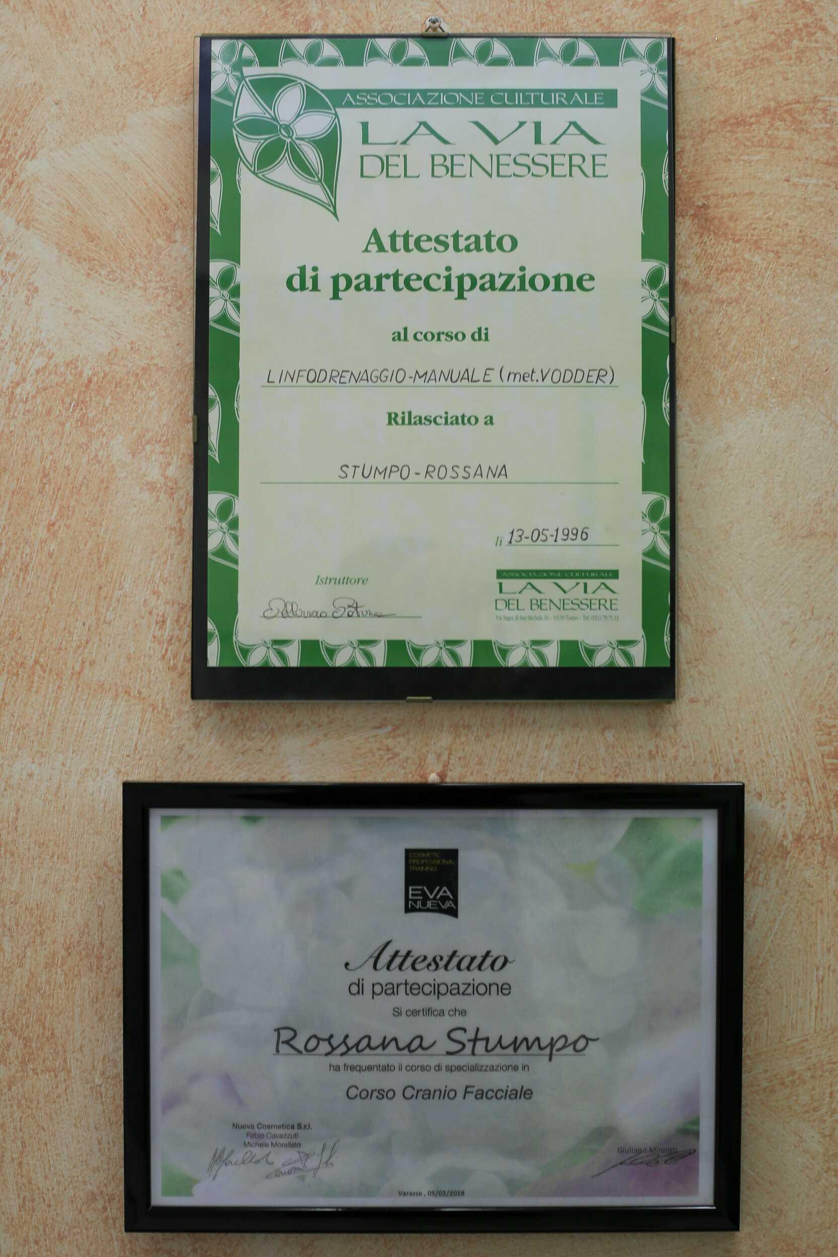 Attestati - Centro Estetico Rossana